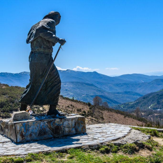Pilgrim statue Saint James's Way, Galicia, Spain