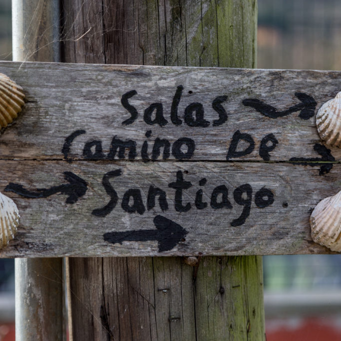 Arrow to Salas on The Camino Primitivo, Spain a World Heritage Site