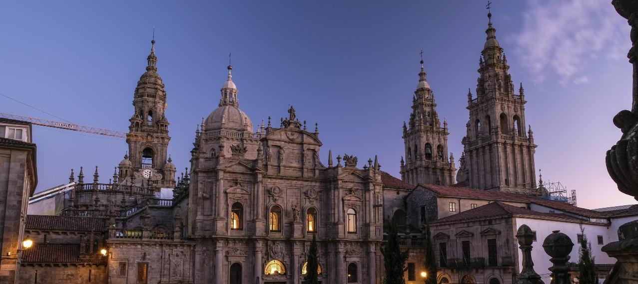Kathedrale Santiago de Compostela by night